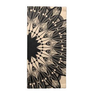 Moderne schwarze verwickelte Spitze-Mandala Stoffserviette