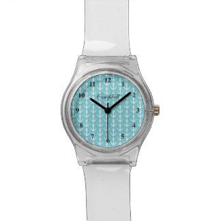 Moderne Seeankeruhr mit custon Namen Uhr