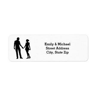 Moderne Silhouette-Paare - Adressen-Etiketten
