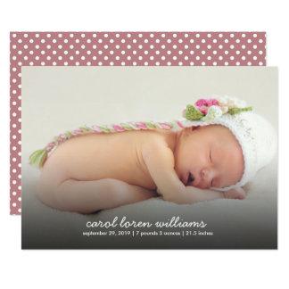 Moderne Single-Fotobaby-Geburtsmitteilung 12,7 X 17,8 Cm Einladungskarte