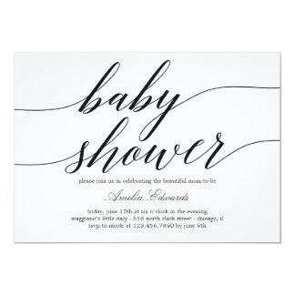 Moderne Skript-Babyparty-Einladung Karte