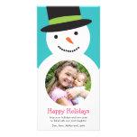 Moderne Snowman-Feiertags-Foto-Karte Fotokarten