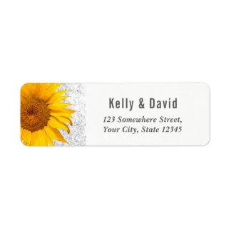 Moderne Sonnenblume, die eleganten silbernen Rücksendeetikett