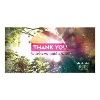 Moderne Sonnenschein-Blatt-Brautjungfer danken Photogrußkarten
