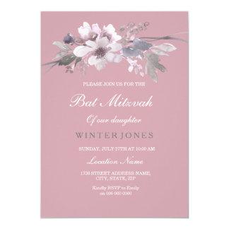 Moderne staubige rosa Blumenschläger Mitzvah 12,7 X 17,8 Cm Einladungskarte