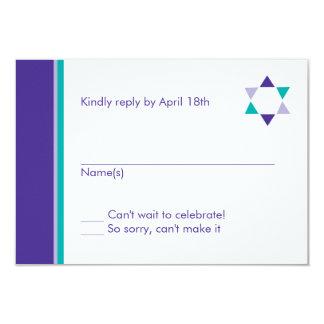 Moderne Stern-Schläger Mitzvah Wartekarte 8,9 X 12,7 Cm Einladungskarte