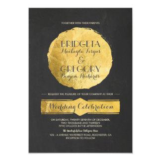 Moderne Tafel-Goldfolien-Hochzeits-Einladung 12,7 X 17,8 Cm Einladungskarte