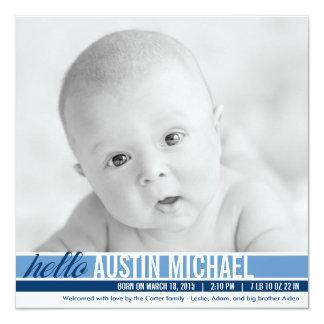 Moderne Ton-Geburts-Mitteilungen - Blau Quadratische 13,3 Cm Einladungskarte