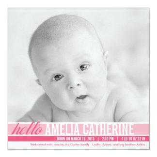Moderne Ton-Geburts-Mitteilungen - Rosa Quadratische 13,3 Cm Einladungskarte