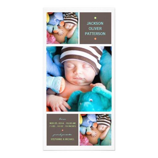 Moderne Trio-Foto-Baby-Jungen-Geburts-Mitteilung Photokarte
