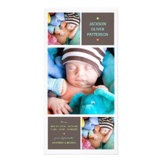 Moderne Trio-Foto-Baby-Jungen-Geburts-Mitteilung Photokartenvorlage
