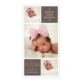 Moderne Trio-Foto-Baby-Mädchen-Geburts-Mitteilung Foto Grußkarte