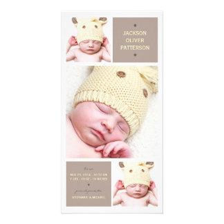 Moderne Trio-Foto-Baby-Mädchen-Geburts-Mitteilung Photo Karte