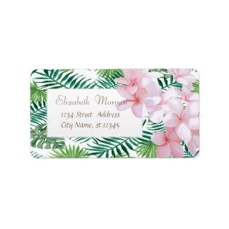 Moderne tropische Palmblätter, tropische Blumen Adressaufkleber