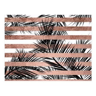 Moderne tropische Palmen Chic-Rosen-Goldstreifen Postkarte