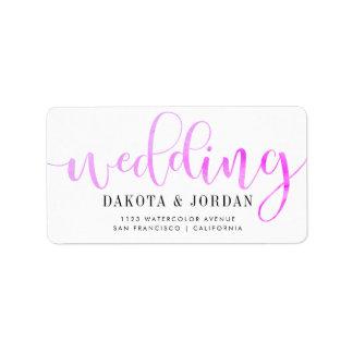 Moderne Typografie| lila Watercolor-Hochzeit Adressetikett