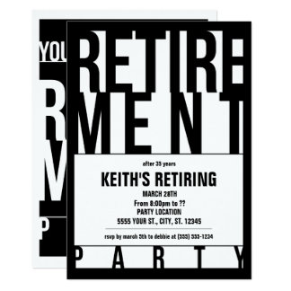 Moderne Typografie, Ruhestands-Party Einladungen