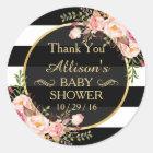 Moderne Vintage Blumendekor-Baby-Dusche danken Runder Aufkleber