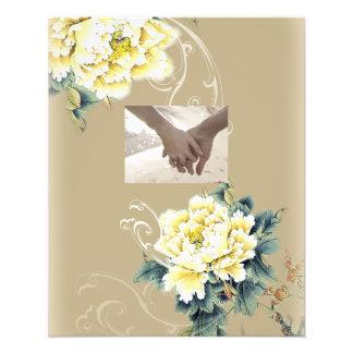 moderne Vintage Blumenpfingstrosenhochzeit Fotodruck