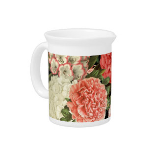 moderne Vintage botanische rosa Blumen Getränke Pitcher