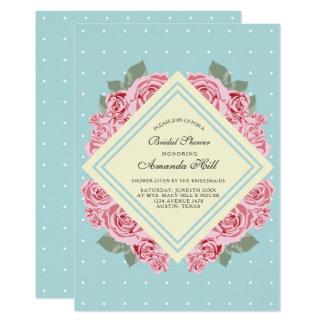 Moderne Vintage elegante Rosen-Brautparty-Karte 12,7 X 17,8 Cm Einladungskarte