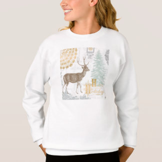 Moderne Vintage elegante Winterwaldrotwild Sweatshirt