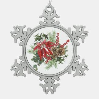 moderne Vintage Feiertagspoinsettia mit Blumen Schneeflocken Zinn-Ornament