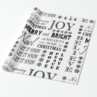 moderne Vintage Feiertagswörter Geschenkpapier