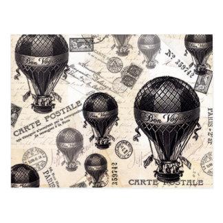moderne Vintage französische Heißluftballone Postkarte