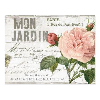 moderne Vintage französische Rosenpostkarte Postkarte