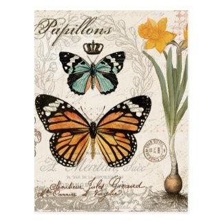 Moderne Vintage französische Schmetterlinge Postkarte