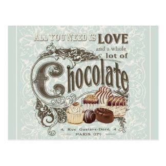 moderne Vintage französische Schokoladen Postkarte