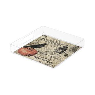 MODERNE VINTAGE HALLOWEENkrähe UND -KÜRBIS Acryl Tablett
