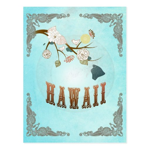 Moderne Vintage Hawaii-Staats-Karte - Aqua-Blau Postkarte