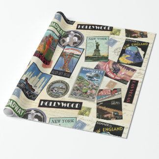 Moderne Vintage Reise USA Geschenkpapierrolle