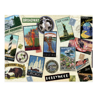 Moderne Vintage Reise USA Postkarten
