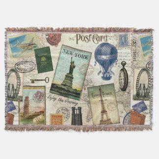 moderne Vintage Reisecollage Decke