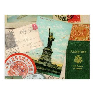 moderne Vintage Reisecollage Postkarte