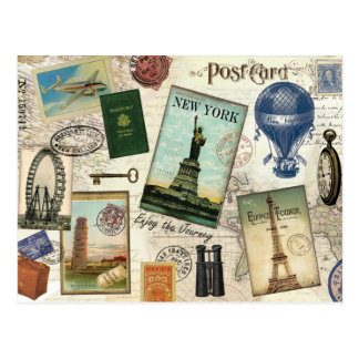moderne Vintage Reisecollage Postkarten