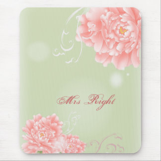 moderne Vintage rosa Pfingstrosen-Blumenbraut Mauspads