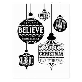 moderne Vintage Weihnachtsverzierungen Postkarten