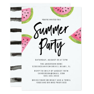 Moderne Wassermelone-Sommer-Party Einladung