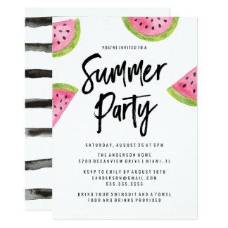 Moderne Wassermelone Sommer Party Einladung