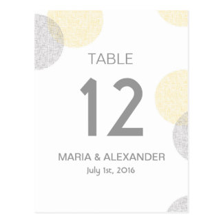 Moderne Wedding Tischnummer des gelben und grauen Postkarte