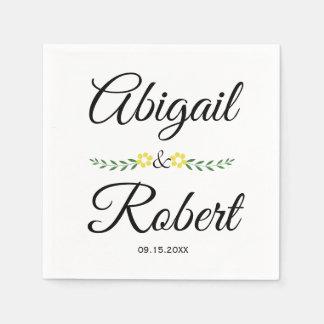 Moderne wedding Typografie und gelbe Blumen Servietten