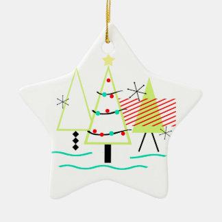 moderne Weihnachtsbäume der Mitte des Jahrhunderts Keramik Ornament