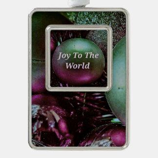 Moderne Weihnachtsgrün-Rosen-Freude zur Welt Rahmen-Ornament Silber