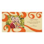 Moderne WeihnachtsWirbels-Foto-Karten-Orange Bilderkarte