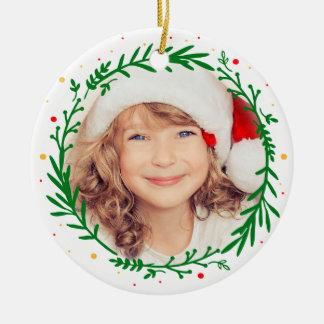 Moderne Weihnachtswreath-Foto-Verzierung Keramik Ornament