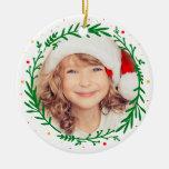 Moderne Weihnachtswreath-Foto-Verzierung Rundes Keramik Ornament